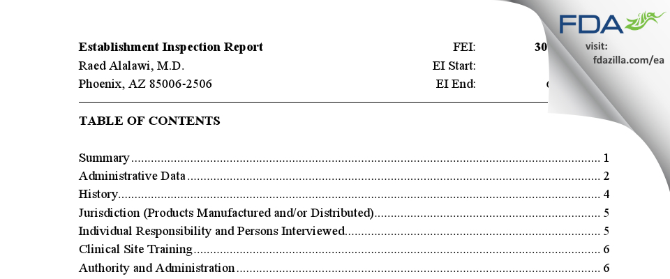 Raed Alalawi, M.D. FDA inspection 483 Jun 2021