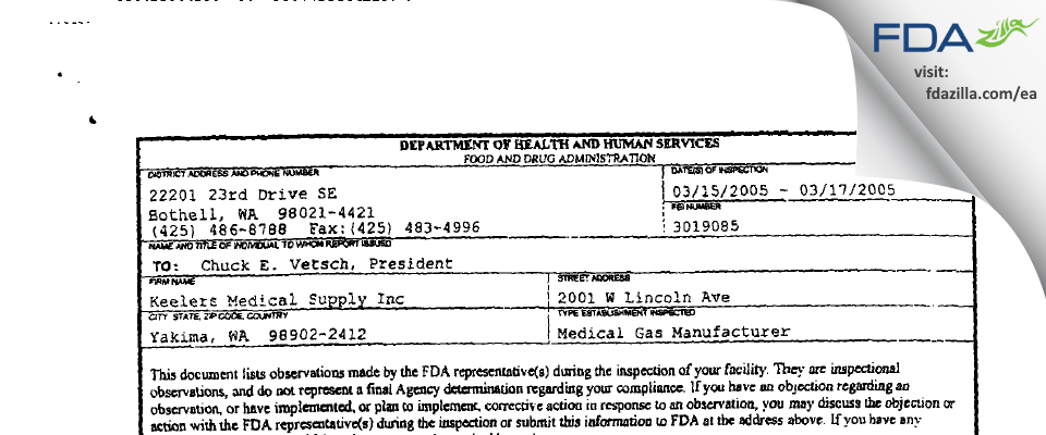 Keeler's Medical Supply FDA inspection 483 Mar 2005