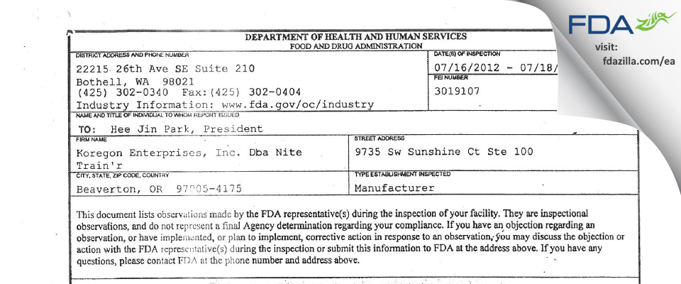 Koregon Enterprises Dba Nite Train'r FDA inspection 483 Jul 2012