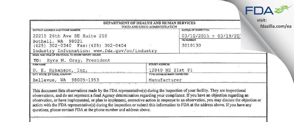 D E Hokanson FDA inspection 483 Mar 2015