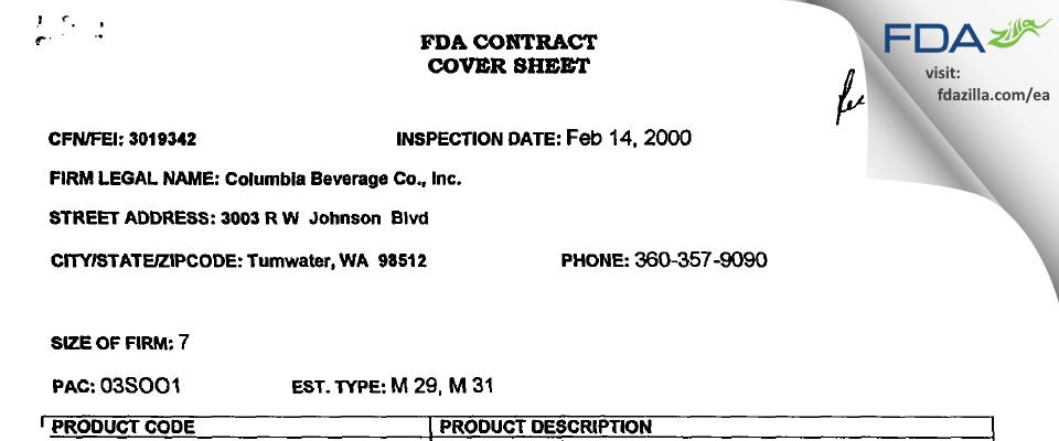 Pepsi Northwest Beverage FDA inspection 483 Feb 2000