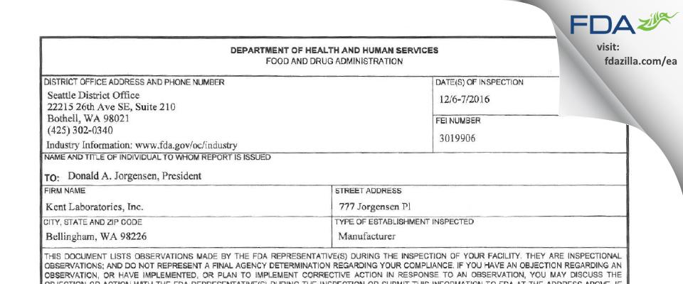 Kent Labs FDA inspection 483 Dec 2016