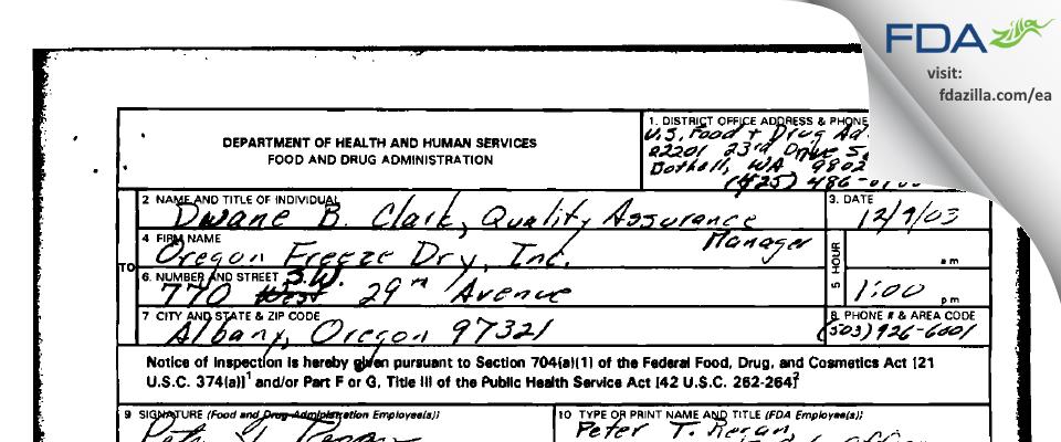 OFD Foods FDA inspection 483 Dec 2003