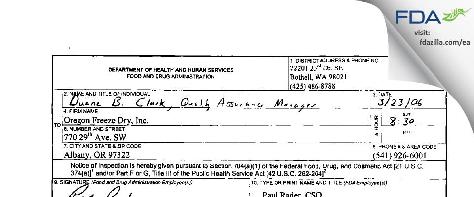 OFD Foods FDA inspection 483 Mar 2006