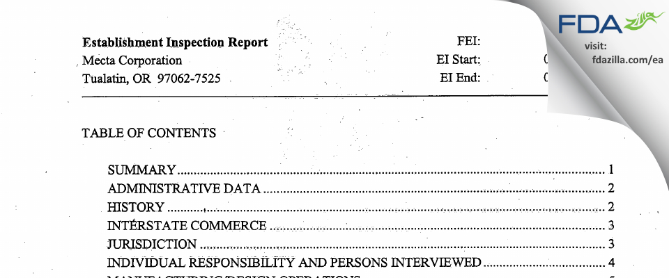 MECTA FDA inspection 483 Sep 2007