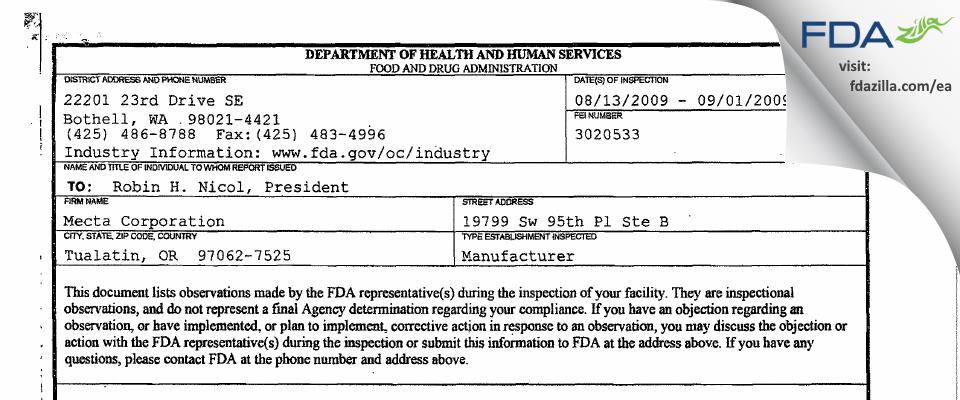 MECTA FDA inspection 483 Sep 2009