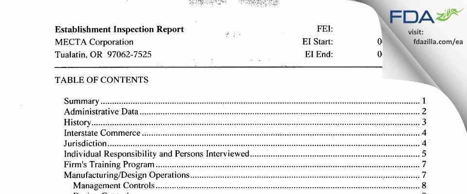 MECTA FDA inspection 483 Jun 2015