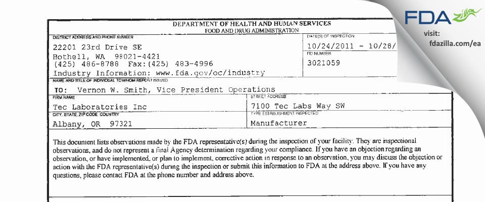 Tec Labs FDA inspection 483 Oct 2011