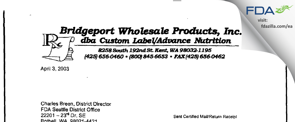 Bridgeport Wholesale Products FDA inspection 483 Mar 2003