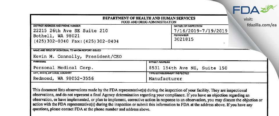 Personal Medical FDA inspection 483 Jul 2019