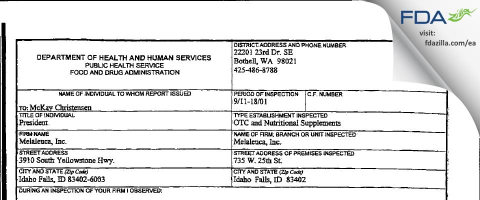 Melaleuca FDA inspection 483 Sep 2001