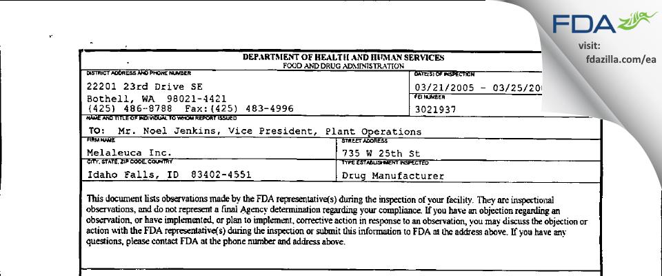 Melaleuca FDA inspection 483 Mar 2005