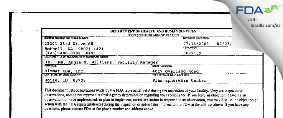 Biomat USA FDA inspection 483 Jul 2003
