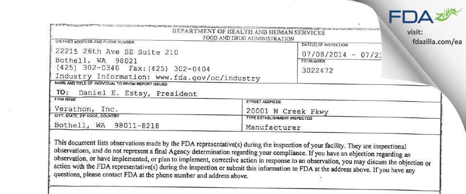 Verathon FDA inspection 483 Jul 2014