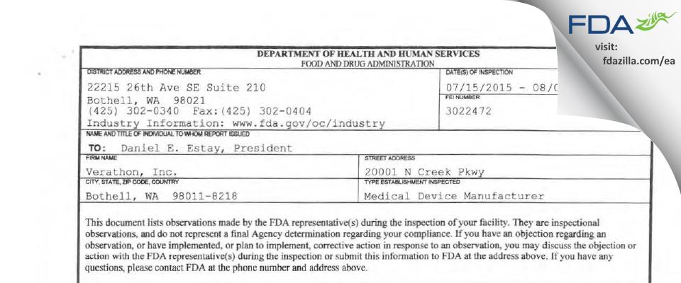 Verathon FDA inspection 483 Aug 2015