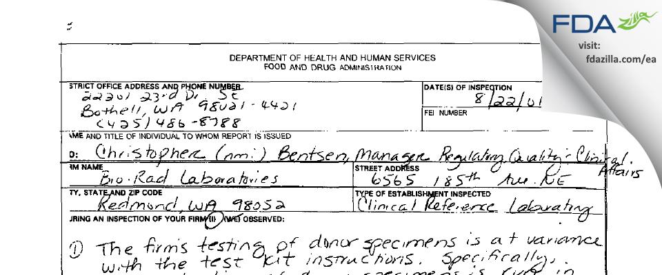 Bio-Rad Labs FDA inspection 483 Aug 2001
