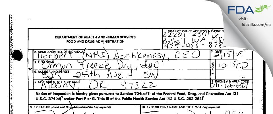 OFD Foods FDA inspection 483 Mar 2005