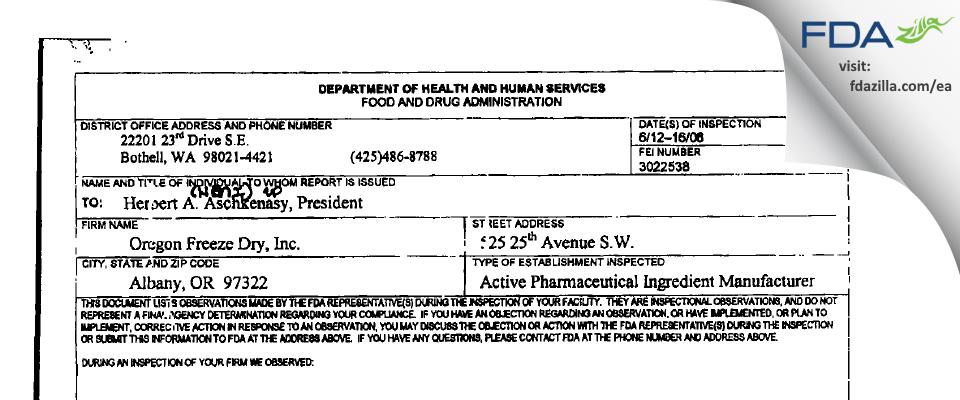 OFD Foods FDA inspection 483 Jun 2006