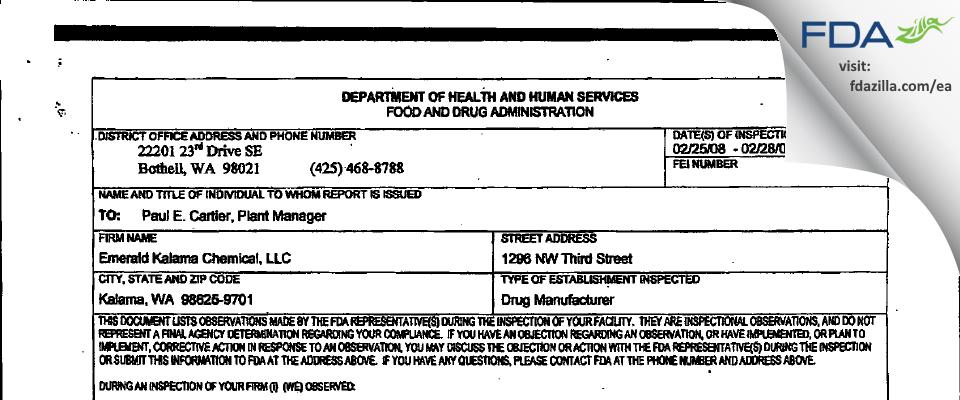 Emerald Kalama Chemicals FDA inspection 483 Feb 2008