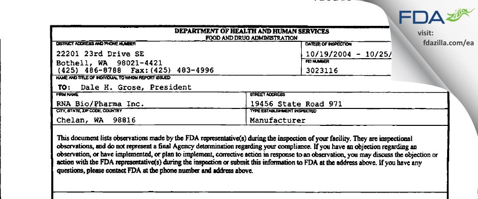 RNA Bio/Pharma FDA inspection 483 Oct 2004