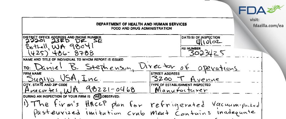 Sugiyo USA FDA inspection 483 Apr 2002
