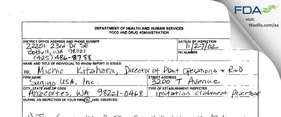 Sugiyo USA FDA inspection 483 Nov 2002
