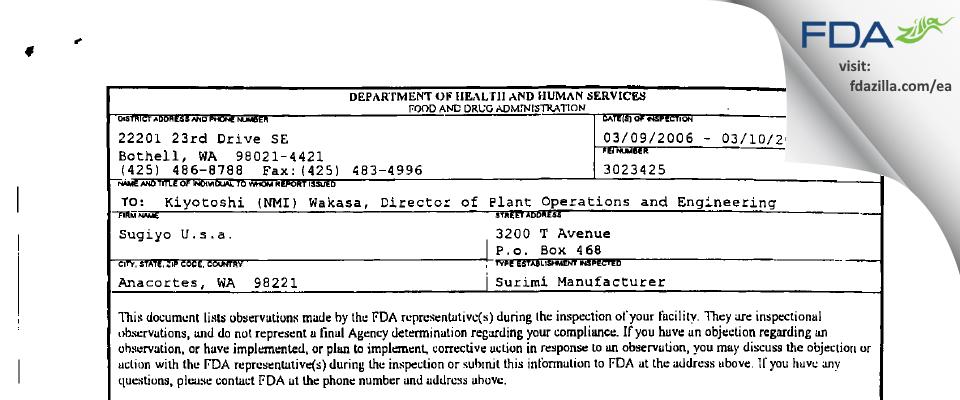 Sugiyo U.S.A.,. FDA inspection 483 Mar 2006