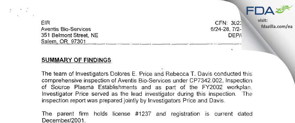 Biomat USA FDA inspection 483 Jul 2002