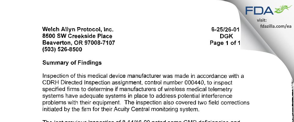 Welch Allyn Protocol FDA inspection 483 Jun 2001