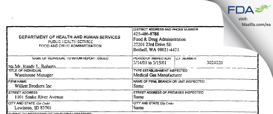 Norco DBA Norco Medical FDA inspection 483 Mar 2001