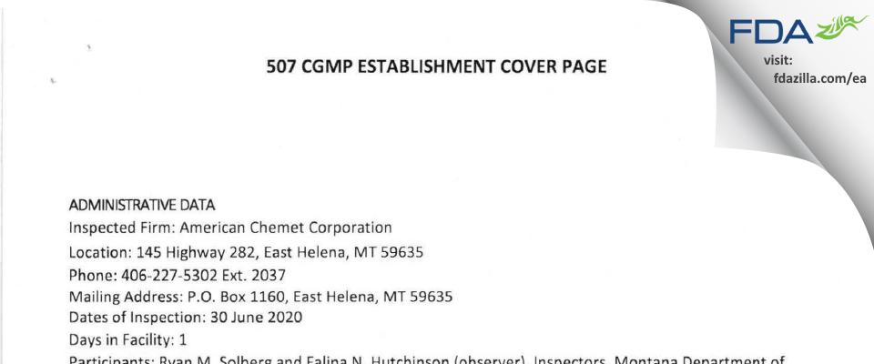 American Chemet FDA inspection 483 Jun 2020