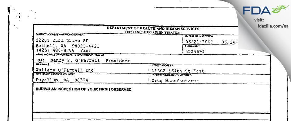 Wallace O'Farrell Marketing FDA inspection 483 Jun 2002