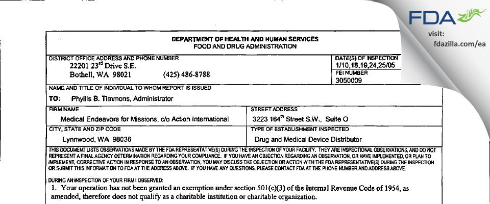 Medical Endeavors for Missions FDA inspection 483 Jan 2005