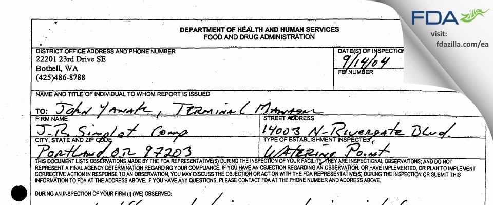 J. R. Simplot Company FDA inspection 483 Sep 2004