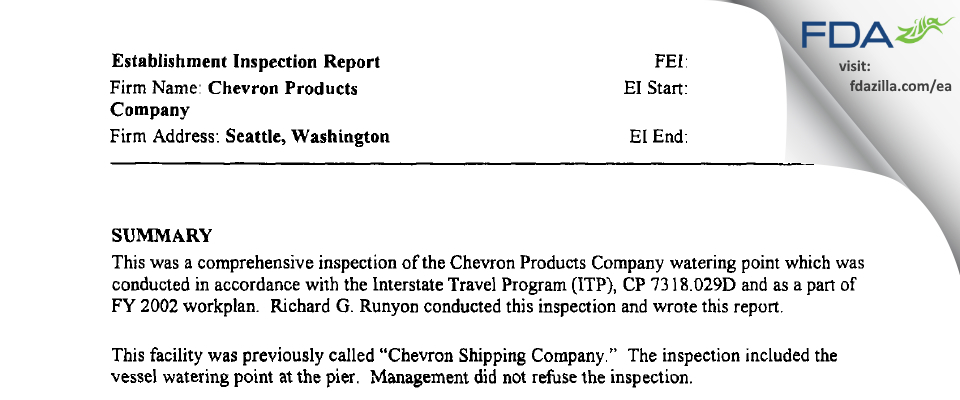 Chevron Products Company FDA inspection 483 Nov 2003