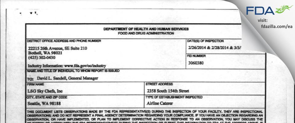 LSG Sky Chefs FDA inspection 483 Mar 2014