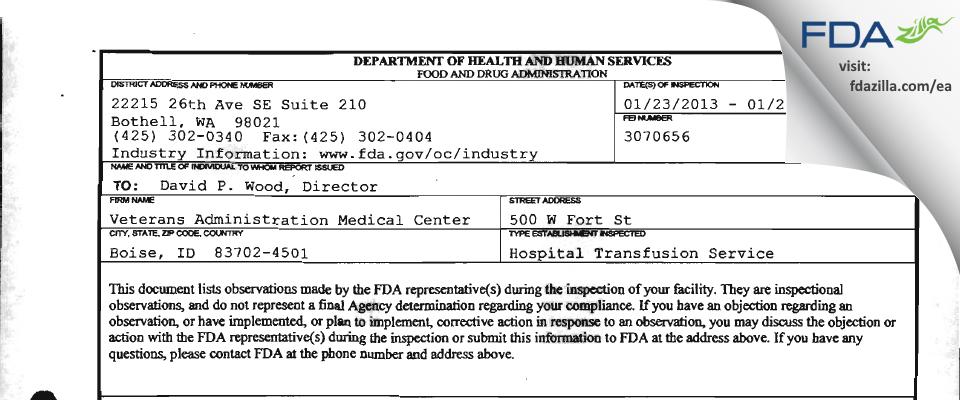 Boise VAMC FDA inspection 483 Jan 2013