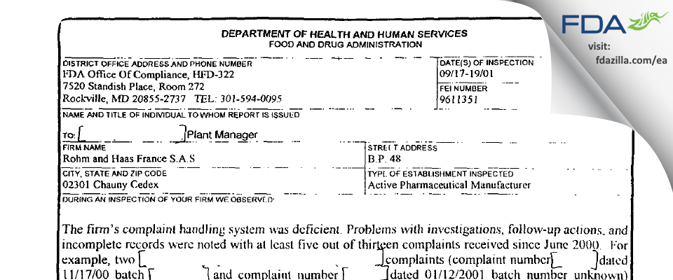 Rohm and Haas FranceS. FDA inspection 483 Sep 2001