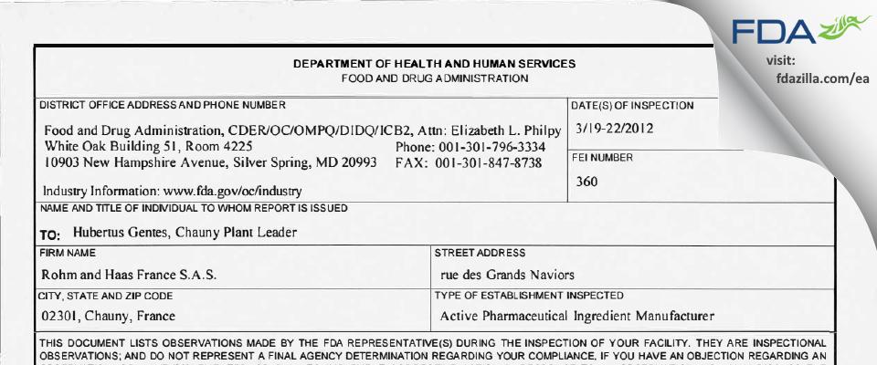 DSPS. FDA inspection 483 Mar 2012