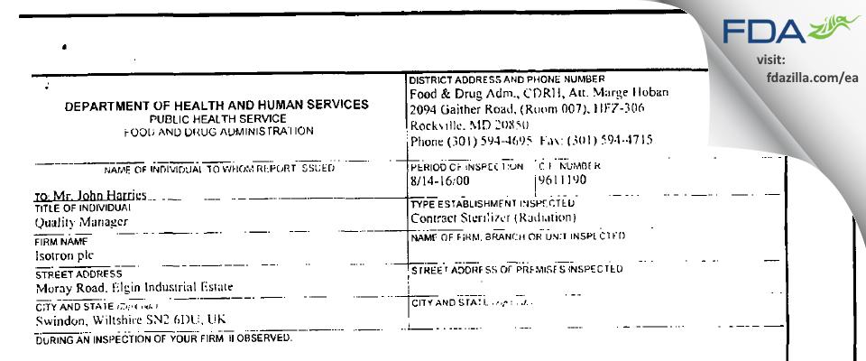 Isotron Plc FDA inspection 483 Aug 2000