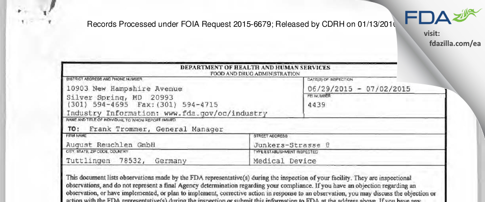 August Reuchlen FDA inspection 483 Jul 2015