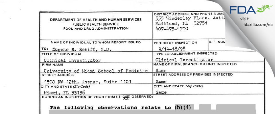 SCHIFF, EUGENE FDA inspection 483 Sep 1998