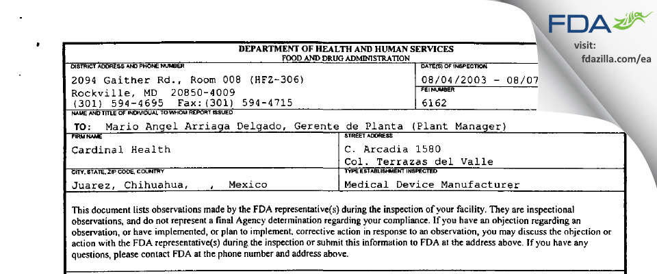 Cardinal Health FDA inspection 483 Aug 2003